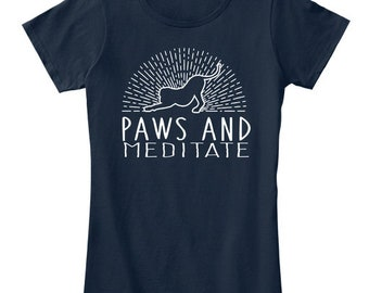 Paws And Meditate By Yoga Threads - Women's Premium Tee - New Navy