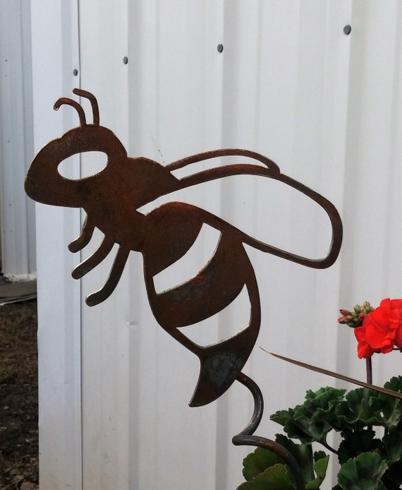 Metal Buzzing Bee Garden Stake Yard Flying Decor Be You Love Still Bees