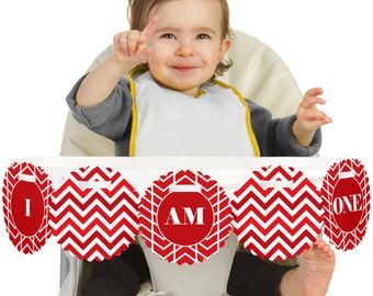 Chevron Red - 1st Birthday - I Am One - First Birthday High Chair Banner - First Birthday Party Decorations