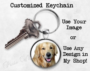 CUSTOMIZED KEYCHAIN, Custom Keyring Key Chain Personalized Keyring Key Chain Fob, Party Favor, Wedding Party Gift, Under 10, Use Your Image