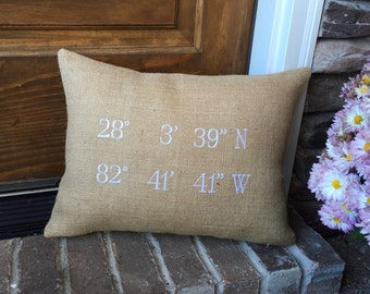 Map Coordinates Pillow with Removable pillow insert, Longitude Latitude Pillow, Burlap Pillow, Destination Pillow, Wedding Pillow