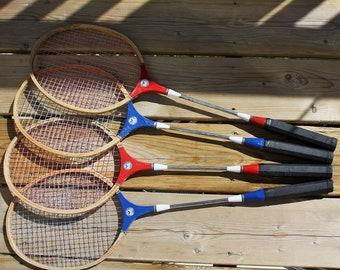 Badminton Racquets/Rackets, Set of 4, Hardwood and Metal, Venture Brand 1980s