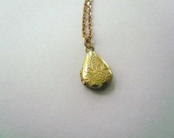 Pretty gold necklace Gift for girlfriend Locket necklace embossed vintage brass teardrop on new brass necklace chain