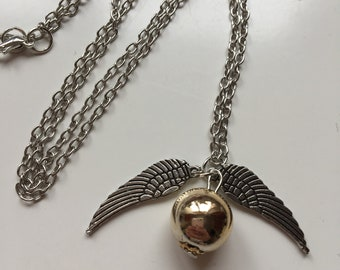 Cute Harry Potter themed flying golden snitch silver necklace
