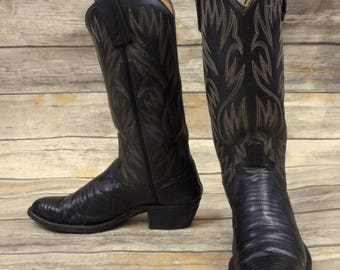 Dan Post Cowboy Boots Black Lizard Leather Mens Size 7.5 D Vintage Rockabilly