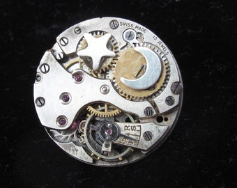 Moon and star Brooch, vintage watch movement, Steampunk brooch with sterling silver moon and star