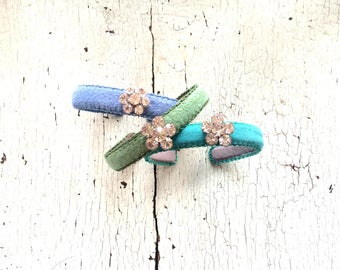 Colorful Floral Thin Adjustable Cuff Bracelets with Rhinestones