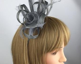 Medium Grey Fascinator, Silver Grey wedding fascinator, pewter grey, ascot races hat, occasions, mother of the bride hat