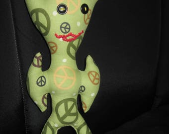 Hand Made Green Peace Sign ALIEN Small Dammit Doll or Doll Toy.....1732h....OOAK....Original Design....Special Orders Welcomed!