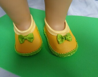 Yellow and Green -Mary Jane- Flats- Doll Shoes-- for 18 inch dolls- fits american girl dolls