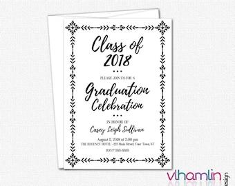 Vintage Graduation Invitations - High School or College Graduation Invitation - Printed or Printable | black white simple elegant invites