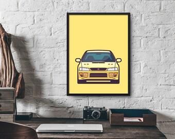 Subaru WRX STI 1st Gen Car Poster Art Print Wall Art