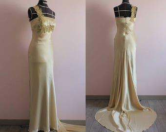 Champagne silk satin evening dress with train/ ball gown/ 100% silk/ satin wedding dress/ Robe de soirée/ robe de cocktail/ SAMPLE SALE