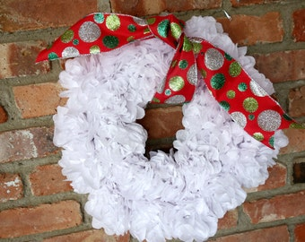 Holiday PuffScape WREATH Silver, Red, & Green Entrance Decor Tree Alternative Tissue Paper Pom Christmas December Wedding Place Card Holder
