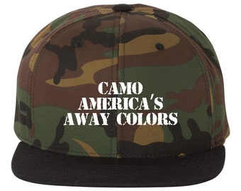 Camo America's Away Colors Snapback Hat, High Profile 6 Panel Flatbill Snapback Baseball Hat Cap Camo
