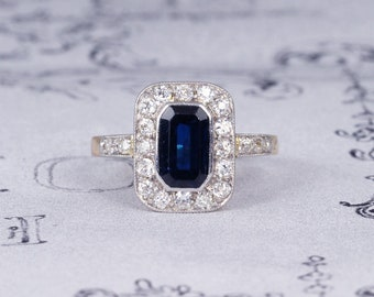 Art Deco Sapphire and Diamond Cluster Engagement Ring, Vintage 1.20 Carat Deep Blue Sapphire & Old Cut Diamond Ring, 18ct Gold and Platinum