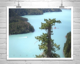 Pacific Northwest Art, Washington State Art, Cascades Mountains, Diablo Lake Picture, Mountain Landscape, Gift Picture, Art on Canvas