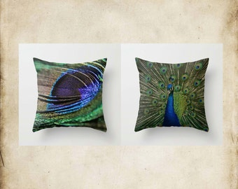 Throw Pillow Cover Peacock Feather Emerald Green Cobalt Blue Cottage Decor Photo Case Home Bedroom Bed Couch Sofa Set Collection