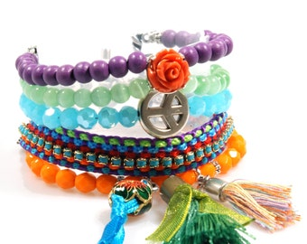 Colored hippie bracelet - cuff beads and ribbon with Swarovski - orange, purple, green, blue - tassels, peace, rose - handmade jewelry