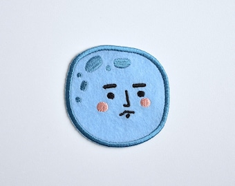 Iron on patch // Disinterested Moon // Funny embroidered patch for jacket