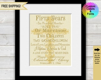 Religious 50th Anniversary Gifts for Parents, 50th Wedding Anniversary Gifts, 50  Year Anniversary, Marriage Timeline, Cross Print