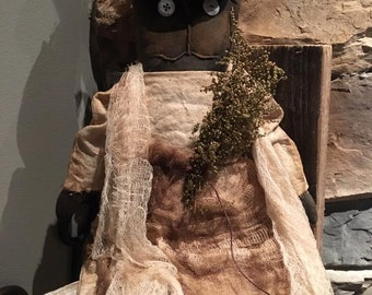 Made to Order: Primitive black witch cat for Halloween or Fall
