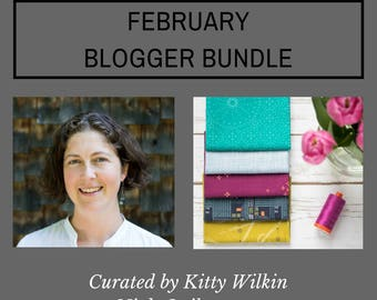 Blogger Bundle February, 5 Piece Fat Quarter Bundle, Green, Light Blue, Rasperry, Teal, Navy