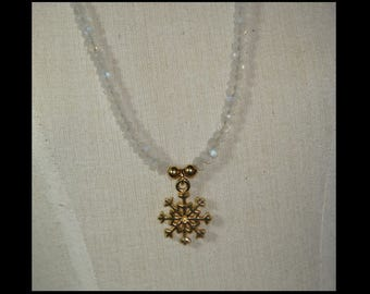 Rainbow moonstone and gold plate necklace.