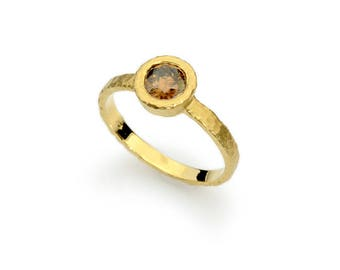14 karat solid hammered gold solitaire artisan engagement ring with genuine natural brown diamond