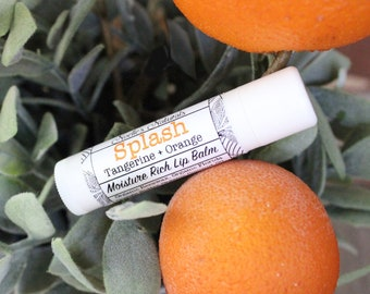 Splash Lip Balm - Orange + Tangerine - Naturally SPF - No Parabens - non-GMO- Organic - Moisturizing - Tastes Amazing!