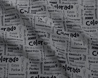 Colorado Fabric - Cities Of Colorado Grey By Svester- Colorado State Cities Words Travel Quilting Cotton Fabric By The Yard With Spoonflower