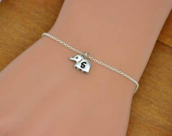 Personalized Initial Elephant Bracelet, Sterling Silver Elephant Bracelet, Small Elephant Initial Bracelet, Personalized gift