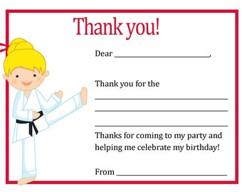 Karate Birthday Party Thank You Card - Digital file - You print / Karate Thank You Card