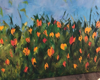Abstract floral painting textured oil paint