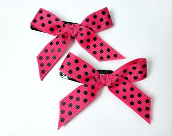 Pink with Polka Dots Ribbon Bow Barrettes