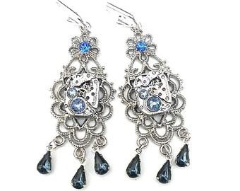 Steampunk Chandelier Earrings, Blue Swarovski Crystals,Ruby Jeweled, Vintage Watch Movements,Cosplay Fashion,Edwardian Fantasy