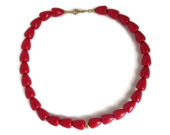 Vintage Red Napier Necklace | Cherry Bead Choker | Classic Signed Designer Jewelry