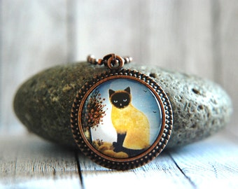 """1"""" Round Glass Pendant Necklace or Key Chain  - Siamese Kitty"""