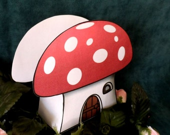 Enchanted Forest Toadstool Favor Box Instant Download Printable File DIY
