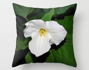 Trillium pillow | pillow cover, floral throw pillow, white flower, spring wildflower, color photograph, home decor