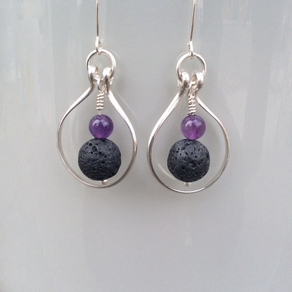 Sterling Silver, Lava Rock and Amethyst Essential Oil Earrings