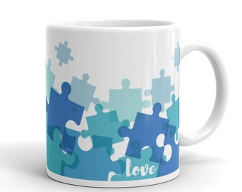 """Blue Puzzle Piece """"Love"""" Mug - Made in the USA"""