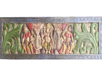 Vintage Indian headboard Rustic Colorful Hand Carved Standing Ganesha Conscious Design OLd World