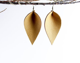 Leather Earrings / Leather Leaf Earrings / Caramel / Inspired By Joanna Gaines Earrings / Magnolia Zia Style Leaf Earrings / Mother's Day