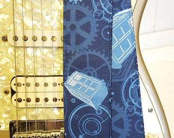 Tardis inspired blue gears guitar strap