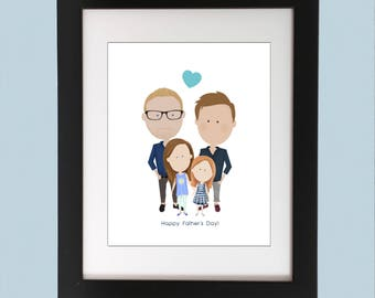 Gay Father's Day Gift, Custom Portrait, Two Dads, Fathers Day Gift, Gay Fathers Day, Gay Dads,  LGBT Dad,  Best Dads Ever, Gay Dads