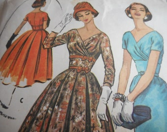 Vintage 1950's McCall's 3990 Dress Sewing Pattern Size 14 Bust 34
