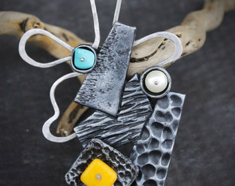 Unique Gift for women Modern brooch art Brooch Contemporary art jewelry polymer clay art jewelry Wearable art Womens gift modern jewelry