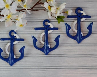 Set of Three Anchor Hooks. Anchor Hook. Anchor Wall Decor. Beach Decor. Nautical Decor. Coastal Decor. Towel Hook. Jewelry Hook. Anchor Art