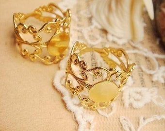 10PCS Adjustable Golden Plated Brass Filigree Rings With 8mm Pad (Nickel Free) G104